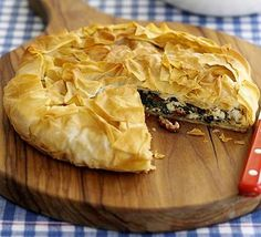 Crispy Greek spinach and feta pie. I've made this loads - I never put as much sundried tomato in as it suggests, but I think it's lovely. So easy to make, and can be made ahead. 250kcal.