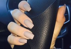 Acrylic coffin nail design in taupe