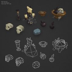 3d model hand painted dungeon entourage - Low Poly Dungeon Entourage... by BITGEM