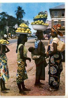Orange Hawkers, Lagos, Nigeria 1960s-70s.Vintage Nigeria