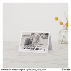 Romantic Classic Script Photo Wedding Thank You Note Card by fatfatin Discount Wedding Invitations, Luxury Wedding Invitations, Wedding Invitation Templates, Thank You Note Cards, Wedding Thank You Cards, Wedding To Do List, Photo Cards, Stationery, Place Card Holders
