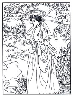 Free Coloring Page Adult Manet Woman Of The 19th Century With Beautiful