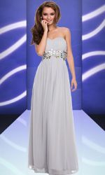 #    Long Evening Gown with Beaded Waist #chiffondress