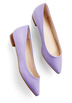 I love this easter color its very spring-ie, They remind me a little of daisy ducks shoes! Super cute! Follow the Arrow Flat in Lavender, #ModCloth