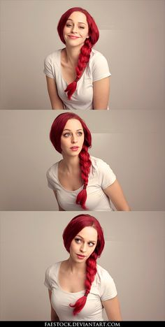 Redhead Ponytail Expression Stock Pack 3 by faestock.deviantart.com