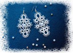 Всё о фриволите Tatting Necklace, Tatting Jewelry, Lace Earrings, Diamond Earrings, Bridesmaid Earrings, Wedding Earrings, Wedding Jewelry, Lace Wedding, Wedding Accessories