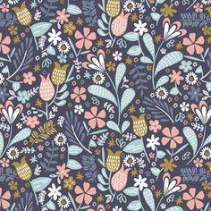 Backyard Blooms in Ink (Hawthorne Threads - Blackbird)