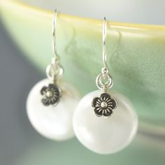 Sterling silver flower and White Coin freshwater pearl earrings, June Birthstone