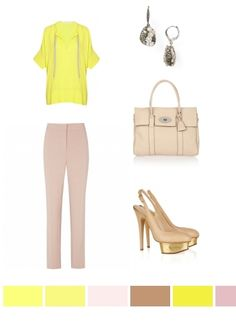 yellow top with beige & gold accessories