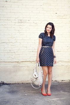 navy blue dress, adore the shoes
