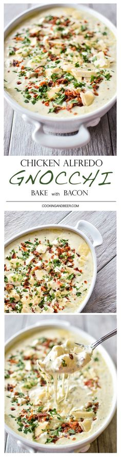 Chicken Alfredo Gnocchi Bake with Bacon: a quick weeknight meal that's hearty and delicious!
