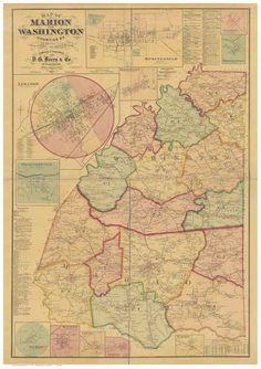 Bird/'s Eye View 1876 Louisville Kentucky Vintage Style City Map 24x32