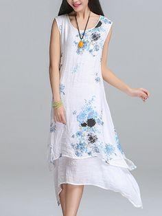 Round Neck Asymmetric Hem Printed Sleeveless Shift Dress - Cathybuy.com 15 Dresses, Dresses Online, Summer Dresses, Dress Silhouette, Print Chiffon, Street Style, Printed, Fashion, Moda