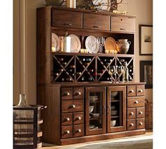 summer hill 2 pc. serving buffet and bar hutch with wine storage