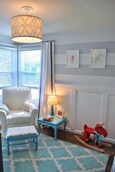 Wainscoting for living room Striped Nursery, Nursery Neutral, White Nursery, Aqua Nursery, Orange Nursery, Turquoise Nursery, Turquoise Rug, Turquoise Accents, Deco Kids