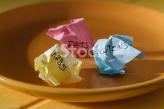 I'm not a fan of dieting, but if it's about health and not the image - it's more than ok. Conceptual image for nutrition: plate with paper pieces spelling carbs, fats and proteins.