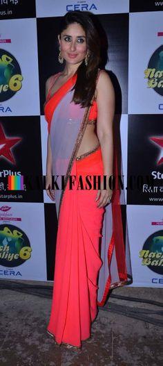 http://www.kalkifashion.com/ Kareena Kapoor Khan looks stunning in her two tone Manish Malhotra saree on the set of Nach baliye 6 for the promorion of her upcoming movie Gori tere Pyar mai.