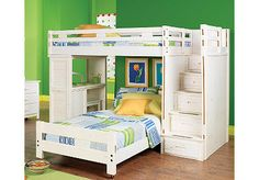 Creekside White Wash Twin/Twin Step Bunk Bedroom w/Desk... This is the bed we want for the girls!!