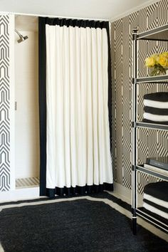 10 Gorgeous Black And White Bathrooms-- love that shower curtain. I want a black and white bathroom. Thinking black tile on the floor though