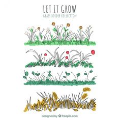 Hand-drawn grass borders with flowers Free Vector Bujo, Marketing Flyers, Flyer Design, Hand Drawn, Grass, Vector Free, Art Drawings, How To Draw Hands, Summer Fair