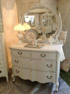 shabby chic paris shabby french chic dresser with mirror paris grey by pinkpaperrose - The world's most private search engine Shabby Chic Kitchen Chairs, Shabby Chic Wall Decor, Shabby Chic Living Room, Shabby Chic Bedrooms, Shabby Chic Homes, Shabby Chic Furniture, Cottage Furniture, Painted Furniture, Furniture Ideas