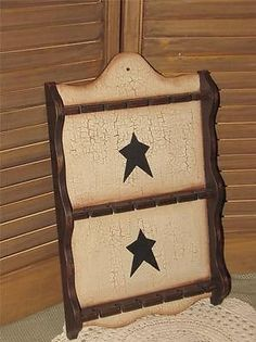 primitive wood spoon rack crackle black star farmhouse country home decor