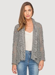 Johnny Was Crochet Short Cover-Up in Iron Steel Grey Johnny Was Clothing, Boho Gypsy, Gypsy Soul, Bohemian, Fashion Outfits, Womens Fashion, Boho Chic, Knit Crochet, Personal Style