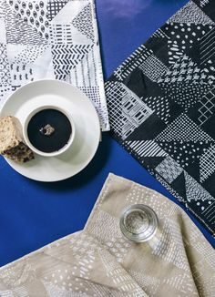 A designer couple and a award-winning design company from Turku, Finland. Textile Patterns, Print Patterns, Textiles, Fabric Photography, Hemp Fabric, Finland, Diy Home Decor, Colours, Shapes