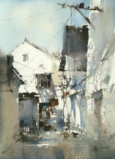 HOUSE OF ZHU IN SHANGHAI BY CHIEN CHUNG-WEI. Incredible handling of light and shadow as elements in making buildings into a beautiful semi abstract painting!! #taiwanese #art www.richard-neuman-artists.com