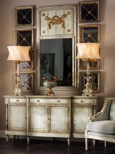 Shop the John-Richard Delphine French Country Two Tone Antique Taupe Grey Sideboard Buffet and other Buffets & Sideboards at Kathy Kuo Home Taupe, Painted Buffet, Delphine, Sideboard Buffet, Interior Design Services, Entryway Decor, Wall Decor, Painted Furniture, Houses