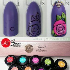 Rose Nail Art, Rose Nails, Gel Nail Art, Flower Nails, Nails First, Puzzle Art, Nail Tutorials, Nail Arts, Jelsa