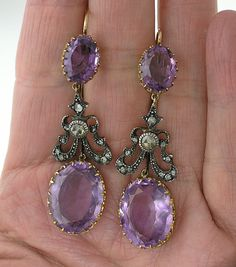 Gorgeous Victorian Amethyst & Diamond Dangle Earrings, Circa 1865