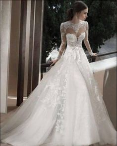 2014 Babyonline Wedding Dresses White Lace Appliques Long Sleeves A Line Floor Length Brial Gowns