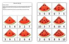 Watermelon clip cards math activity