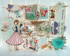Claralesfleurs Scrapbooking 2014 - Une pièce décorative avec Prima Doll et le kit Sew Lovely de Carta Bella...