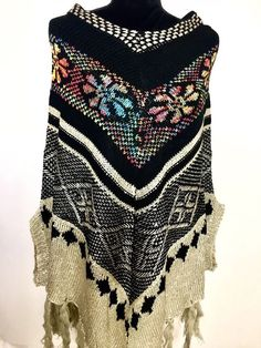 Size:M-XXL Hand made knitted sweater poncho,mexican style,appliqued