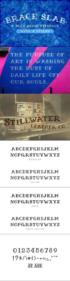 Brace Slab is a hand crafted slab serif typeface that includes a 4 styles, Regular, Inline, Deco & Deco Inline. Includes an uppercase alphabet, along with Slab Serif Fonts, Serif Typeface, Typography Fonts, Typography Design, Font Design, Graphic Design, Uppercase Alphabet, Cool Fonts, Artist At Work
