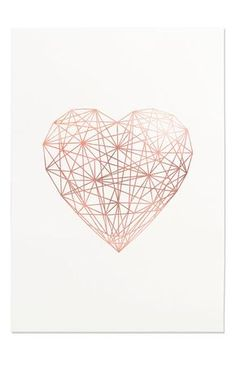 Rose Gold Geometric Heart Line Art Printable Wall Art Trending Now Modern Wall Art Rose Gold Love Chic Wall Art Office Wall Art Decor - Wallpaper Quotes