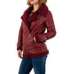 29,99 € - Lange, taillierte Biker-Jacke aus Kunstleder mit Kunstfell in Rot