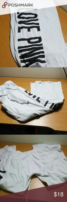 VS PINK white w/ black logo boyfriend pants Great condition. Victoria's Secret boyfriend pants. Size Small. PINK Victoria's Secret Intimates & Sleepwear Pajamas