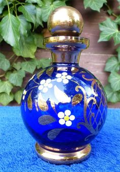 Finest Antique Moser Blue Gilt AND Enamel Glass Perfume Scent Bottle | eBay