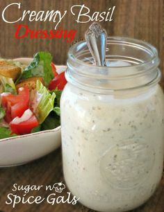 Spice Gals: Creamy Basil Dressing - Food and Drinks - Salat Rezepte Basil Salad Dressings, Salad Dressing Recipes, Salad Recipes, Cat Recipes, Cooking Recipes, Cooking Tips, Recipies, Vegan Recipes, Creamy Basil Dressing