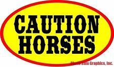 """Caution Horses Decal. 12""""x8"""". Post for Safety on Trailers & Equine Carriers"""