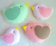 Pastel Felt Finches and fabric.  Small ones would make great hair clips!