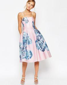 Image 1 ofASOS SALON Rose Printed Mesh Bandeau Dress
