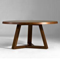 Tan/Garbarino Linea 'Tripod' Dining Table - 155cm (Ebonised Oak/Tan Walnut)