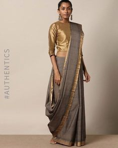 Buy Indie Picks Women Grey Handloom Mangalgiri Saree with Nizam Border Saree Wearing Styles, Saree Styles, Sari Draping Styles, Trendy Sarees, Stylish Sarees, Grey Saree, White Saree, Modern Saree, Sari Blouse Designs