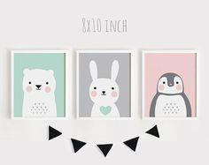 Printable Nursery Art Set of 3 Poster Baby room Wall art Kids room decor Mint Gray Pink Bear Bunny Penguin animals Print 8x10, 30x45cm