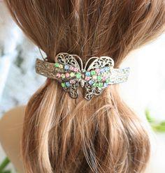 Hair Clip, Butterfly Hair Clip, Rhinestone Clip, Silver Hair Clip, Handmade, Accessories, Vintage Clip, Wedding, Bridal, Bride