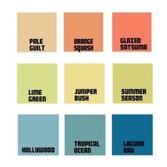 A palette featuring the colours from the Crown Paints Spring/Summer 2014 trend - Ombre. Crown Paint Colours, Paint Color Chart, Trending Paint Colors, Fresh Image, Pale Orange, Antique Paint, Muted Colors, Color Trends